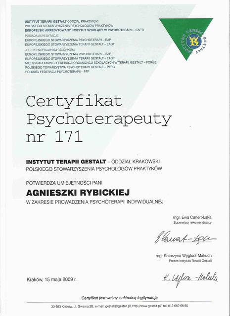 Agnieszka Rybicka gestalt certyfikat2