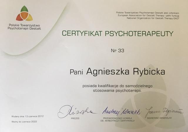 Agnieszka Rybicka gestalt certyfikat